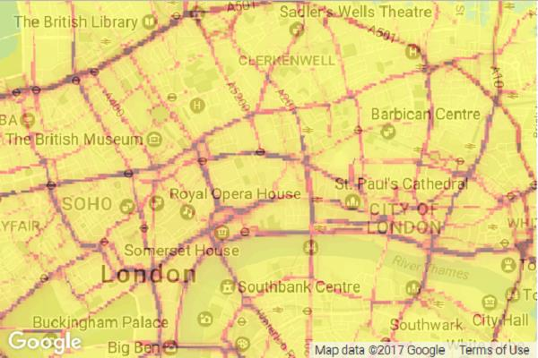Kings College London Map.London Air Quality Network Annual Pollution Maps